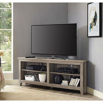 "Wood T V Stand Corner Piece 58"" with Storage Under TV Useful Anywhere you Have Electronics"