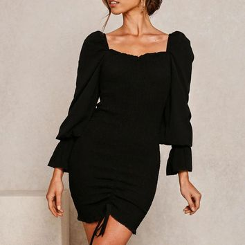 Puff Sleeve Drawstring Bandage Dress