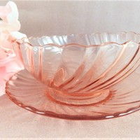 Bowl and Saucer Pink Glass Vintage Arcoroc France Rosaline Swirl Scalloped Edge Cristal d'Arques Durand Collectible Tableware