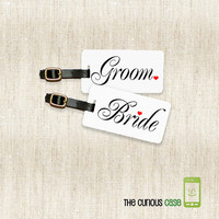 Bride and Groom Metal Luggage Tag Set Personalized with Address Message or Quote Printed FULL Metal Tags