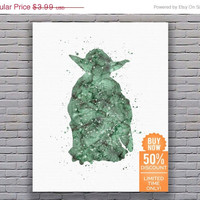 Star Wars Print Yoda Star Wars Art Star Wars Artwork Star Wars Wall Art Star Wars Decor Watercolor Wall Art Digital Download Art