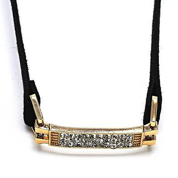 Gold Layered 04.215.0009.13 Fancy Necklace, Choker Design, with White Crystal, Polished Finish, Golden Tone