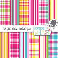 Hot Pink Plaid Digital Paper Pack –  hot pink scrapbook papers in seamless plaid and stripes – hot pink plaid – instant download – CU OK
