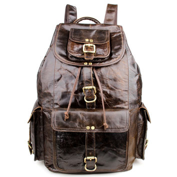 Men's Genuine Leather Backpack with Buckled Pockets_Backpacks_Men's Leather Bags
