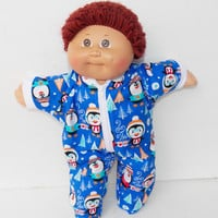 Royal Blue, Cabbage Patch Doll Clothes, HANDMADE, Christmas Boy Holiday Pajamas