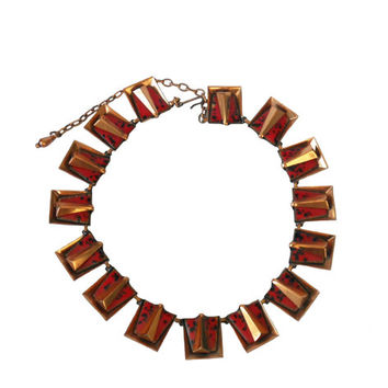 """Vintage 1950s Necklace Matisse Renoir """"Chili"""" Square Linked Design- Red with Black Speckled Enamel and Copper"""