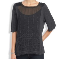 Lucky Brand Embroidered Panel Top Womens