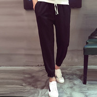 Striped Drawstring Jogger Pants