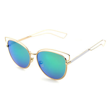 Metal Hollow Out Mirror Fashion Sunglasses [4915047300]