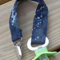 Military Pacifier Holder, US Navy NWU Fabric Pacifier Holder , NWU Camouflage Fabric Pacifier Holder, Binky Clip