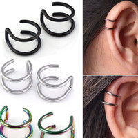 2 Pcs/set Men Women Ear Clip Cuff Wrap Earrings Fashion 4 Colors Clip-on Earrings Non-piercing Ear Cuff Eardrop
