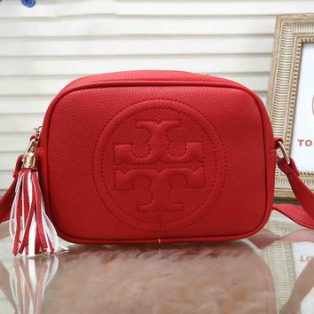Tory Burch Fashion Women Tassel Leather Shoulder Bag Crossbody Satchel Red