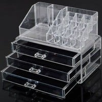 Makeup Cosmetics Organizer Clear Acrylic Grids Display Box Storage W/ 3 Drawers