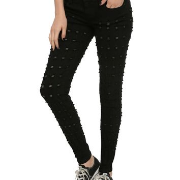 Licensed cool LOVEsick Black Bullet Holes Skinny Jeans Pants JUNIORS Sizez 5 & 7 Hot Topic NWT
