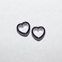 Pair Black Double Flare Heart Plugs Tunnels - 00G 1/2 9/16 5/8 11/16 3/4 7/8""