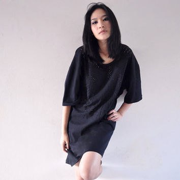 Black Oversize Tshirt Spring Fashion Short Sleeve Top 18 1X Hole Boyfriend Tunic Blouse