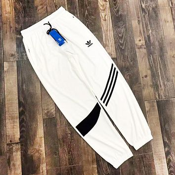 Adidas Fashion New Embroidery Letter Leaf Women Men Pants White