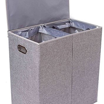 BirdRock Home Double Laundry Hamper with Lid and Removable Liners | Linen | Easily Transport Laundry | Foldable Hamper | Cut Out Handles