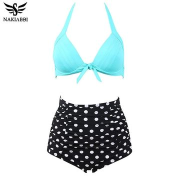 NAKIAEOI 60S Unique Retro Bikinis High Waist Swimsuit Push Up Swimwear Women Plus Size Bathing Suits Printed Floral Bikini Set