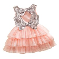 2017 Girls Kids Toddler Baby Princess Party Sequined Backless Bow Pageant Wedding Tulle Tutu Dresses
