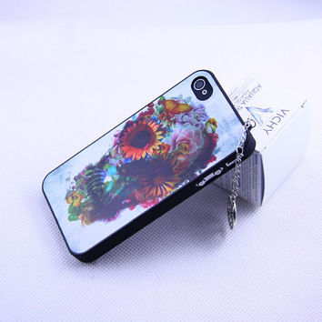 Iphone 4 4s case cover,Flower skul  iphone 4 4s Case,Silvery  The tree of life hard case,  Iphone 4S,handmade iphone 4 4s