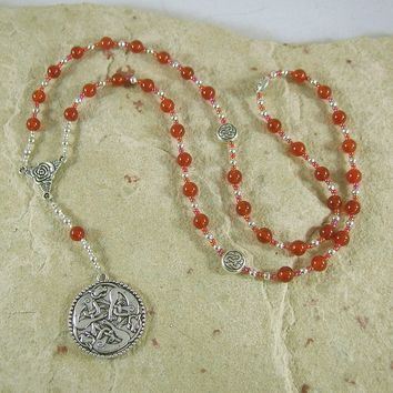 Freyja Prayer Bead Necklace in Carnelian: Norse Goddess of Love, War, Passion, Magic
