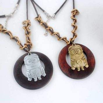 Antique Vintage Long Rope Chain Necklace Wooden Alloy Minions Pendants Neckless Cord Men Jewelry Accessories Free Shipping