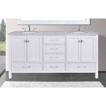 Malibu Pure 60-inch White Double Sink Bathroom Vanity with Carrara Marble Top