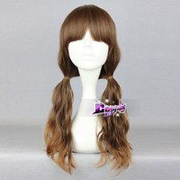 Lolita Mixed Brown Cosplay Anime Fashion Long Curly Hair Wig + Wig Cap