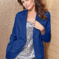 Roamans Plus Size Satin Boyfriend Blazer $29.32