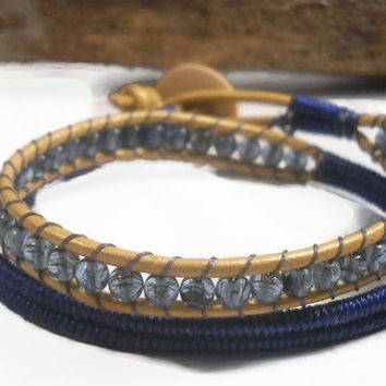 Herringbone Wrapped Bracelet, Blue Wrapped Bracelet, Beaded Bracelet