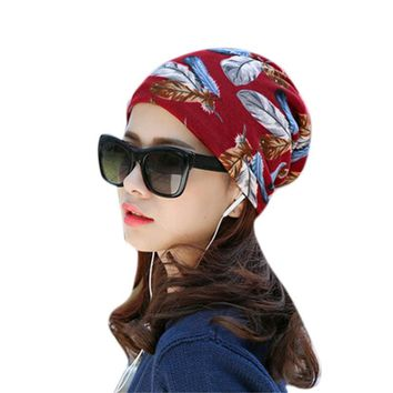 Hot Women's Skullies Beanies  Spring Autumn Stretchy Flower Turban Head Wrap Chemo Hat Bandana Pleated Caps Drop Shipping Feb24