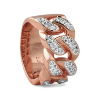 Rose Gold Iced Out Miami Cuban Link Hip Hop Style Fashion Ring