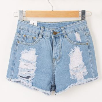 Summer Stylish European Style Casual Woman High Waist Ripped Hole Denim Shorts , FeMale Fashion Destroyed Blue Jeans Short Pants