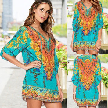 Women's Trending Popular Fashion 2016 Summer Beach Holiday Floral Printed Loose Casual Party Playsuit Clubwear Bodycon Boho Dress A-line _ 6221