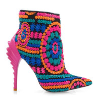 Sequin Ankle Boot Pointed Toe Stiletto Heel Booties