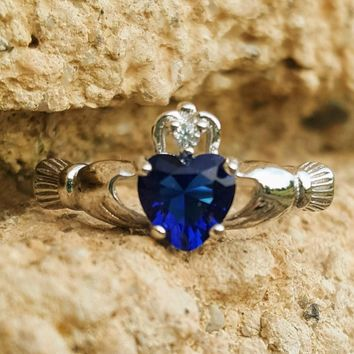 .925 Sterling Silver Blue Sapphire Ladies Claddagh Ring Size 3-13