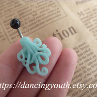 Lovely Resin Octopus Belly Button Ring,  Belly Ring, Belly button jewelry