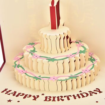 3D pop up handmade laser cut invatation cards Birthday cake with candle creative postcard birthday ifts greeting cards