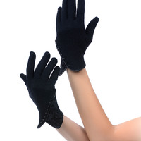 Black Wrist Length Lace & Pearl Gloves