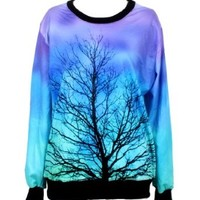 Pandolah Neon Galaxy Cosmic Colorful Patterns Print Sweatshirt Sweaters (Free size, Fantastic trees)