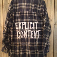 "Plaid flannel ""Explicit Content"" hand painted shirt // soft grunge size XL"