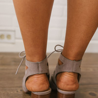 Lace Up Cutout Booties - Taupe - FINAL SALE