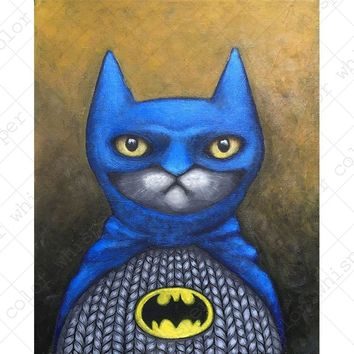 Cat Cosplay Batman Poster Painting Home Decor