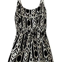 ROMWE Straps Geometric Patterns Print Black-white Playsuit