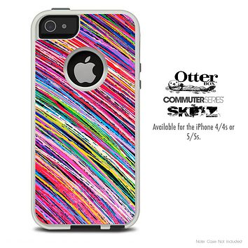 The Abstract Thin Colored Strokes Skin For The iPhone 4-4s or 5-5s Otterbox Commuter Case