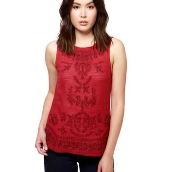 Lucky Brand Embroidered Tibetan Red Tank