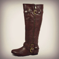 BROWN Knee High Buckle Slouch Boots Zipper Vegan Leather Riding Womens Fashion