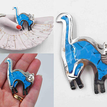 Vintage Mexico Sterling Silver Cat Brooch Pendant Combo, Blue Enamel, Arched, Cat Pin, Mexican, Figural, Cat Lover, Nice #b1000