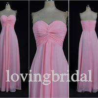 2014 Pink Floor Length Sweetheart Chiffon Prom Dress  Bridesmaid Dress Party Dress Simple Homecoming Dress Formal Prom Dress Custom